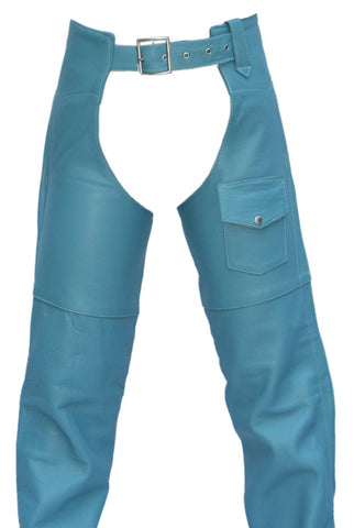 Women's Made in USA Baby Blue Classic Leather Motorcycle Chaps