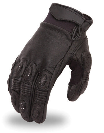 Mens Crossover Leather Racing Motorcycle Gloves Padded Fingers and Palm