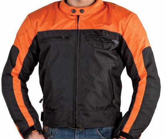Mens Orange and Black Nylon Armored Motorcycle Jacket with Night Reflectors