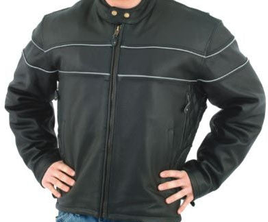 Mens Leather Cruising Jacket Front and Back Airvents Reflector Stripes