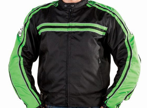 Mens Green Nylon Armored Motorcycle Jacket Night Vision Reflector