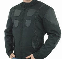 Mens Leather & Textile Motorcycle Jacket with Reflective Stripes