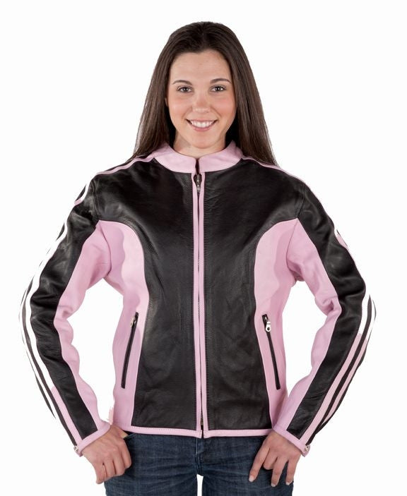 Women's Black and Pink Naked Leather Motorcycle Biker Jacket