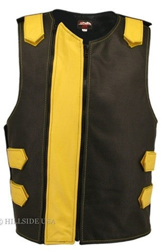 Made in USA Dual Front Zipper Bulletproof Style Leather Biker Vest Black/Yellow