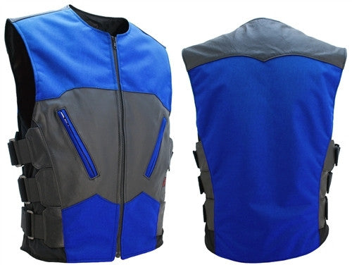 Mens Made in USA Leather & Cordura Combo S.W.A.T. Bullet Proof Style Biker Vest Royal Blue & Black
