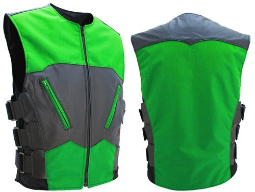 Mens Made in USA Leather & Cordura Combo Biker Vest Lime Green & Black