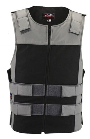 Made in USA Leather & Cordura Zippered Motorcycle Vest Gray & Black