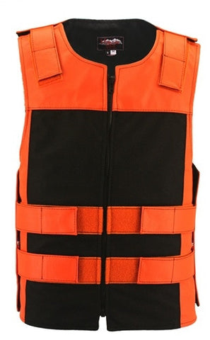 Made in USA Leather & Cordura Zippered Motorcycle Vest Orange & Black