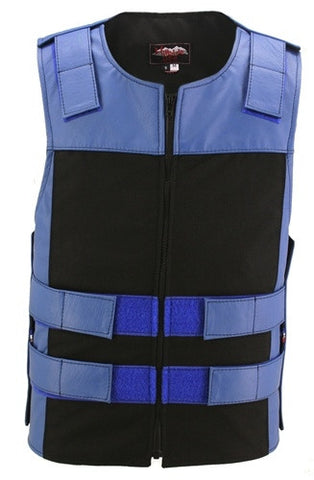 Made in USA Leather & Cordura Zippered Motorcycle Vest Blue & Black