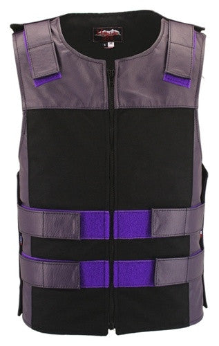 Made in USA Leather & Cordura Zippered Motorcycle Vest Purple & Black