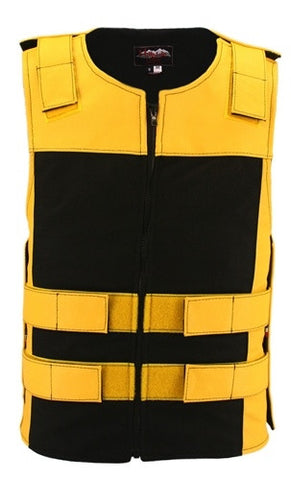 Made in USA Leather & Cordura Zippered Motorcycle Vest Yellow & Black