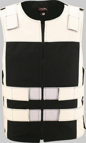 Made in USA Leather & Cordura Zippered Motorcycle Vest White & Black
