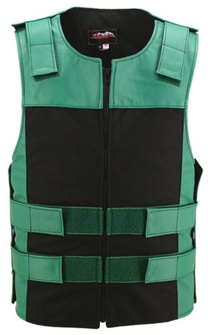 Made in USA Leather & Cordura Zippered Motorcycle Vest Green & Black