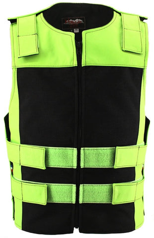 Made in USA Leather & Cordura Zippered Motorcycle Vest Lime Green Black