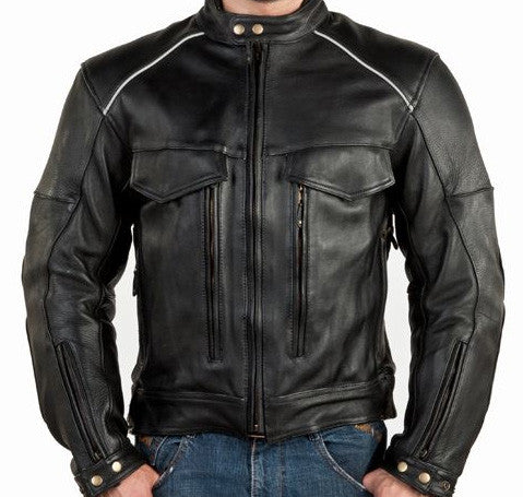 Mens Vented Naked Leather Motorcycle Jacket Night Vision Reflectors