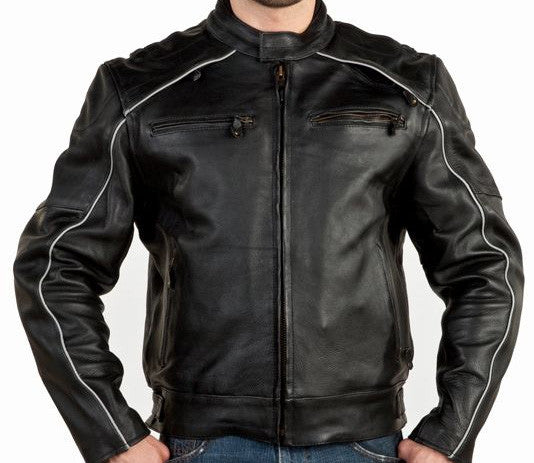 Mens Vented Naked Cowhide Leather Motorcycle Jacket Reflectors on Front and Back