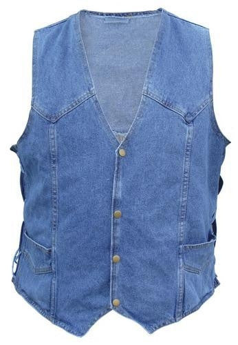 Men's 100% Cotton 14.5oz. Denim Vest with side laces in Blue