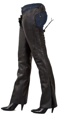 Ladies Low Rise Leather Motorcycle Chaps with Lacing on Back of Thigh