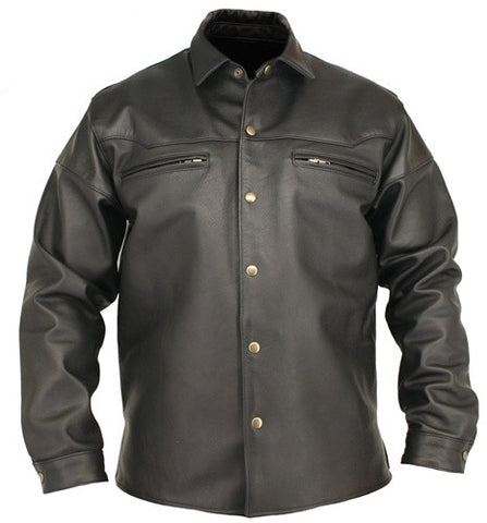 Mens Made in USA Black Or Brown Horsehide Leather Motorcycle Shirt