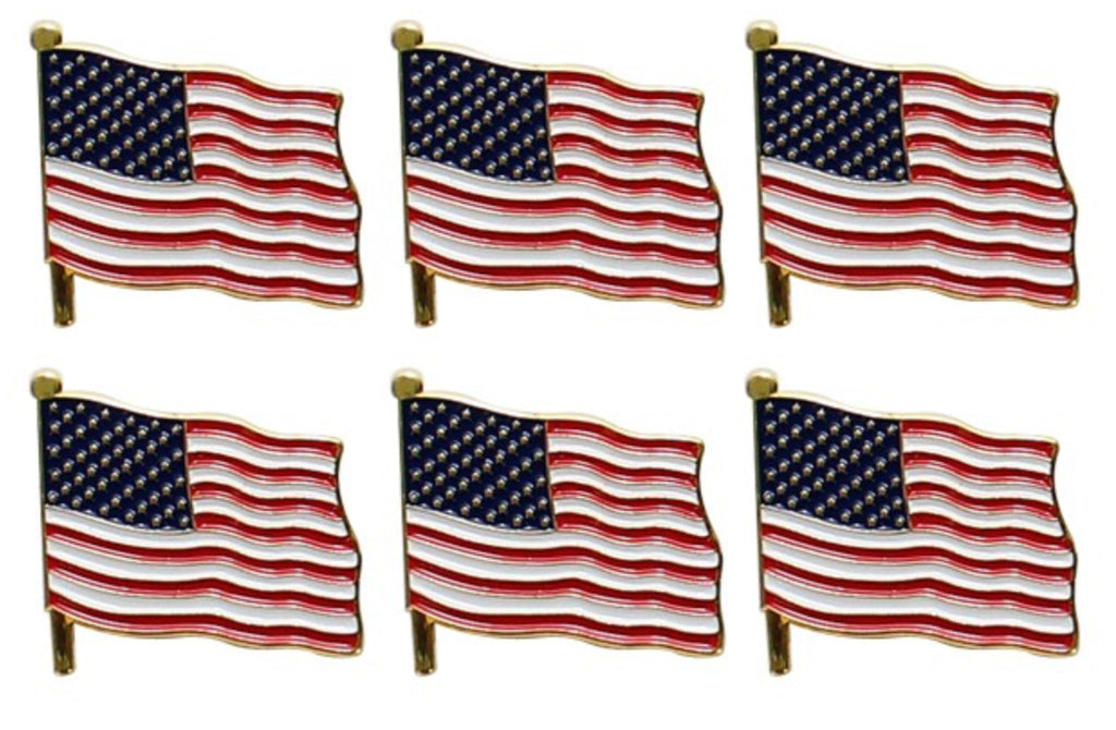 "2"" Gold American Flag Lapel Pin Set Of 6"