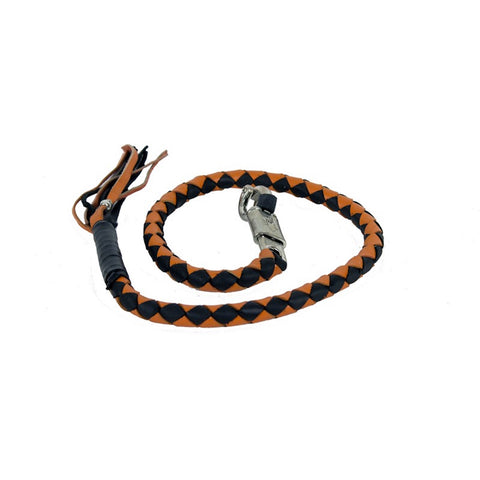 "2"" Circumference Orange & Black Get Back Whip for Motorcycles"