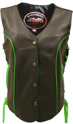 Ladies Made in USA Black Leather Motorcycle Vest with Lime Green Trim Side Laces