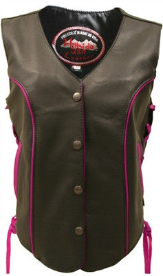 Ladies Made in USA Black Leather Motorcycle Vest with Hot Pink Trim Side Laces