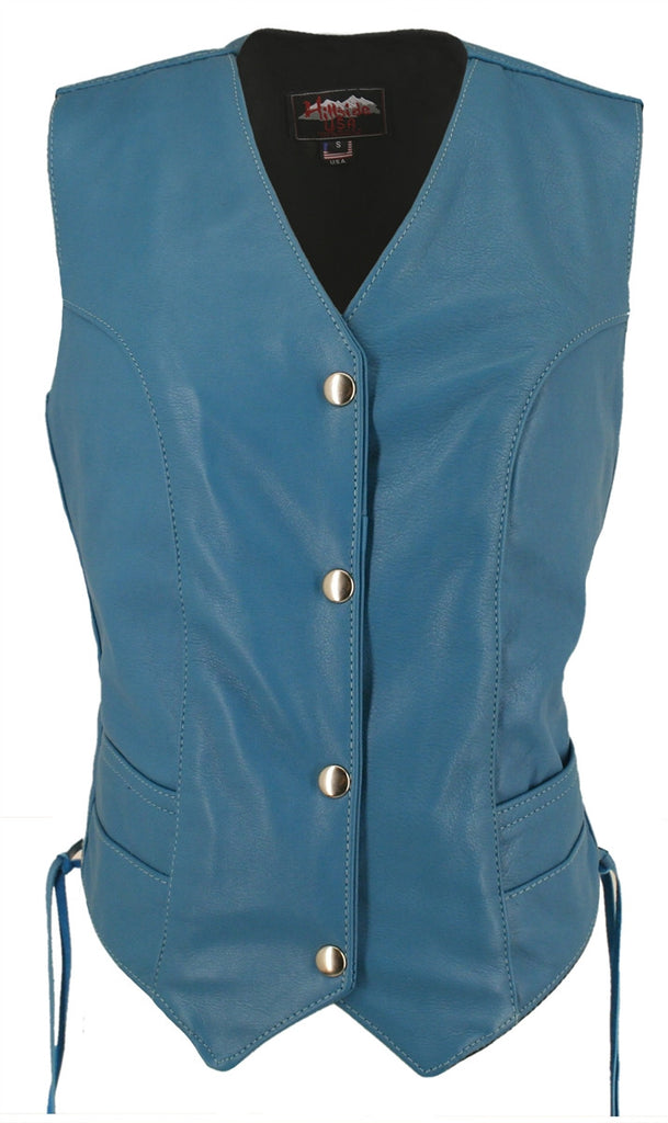 Women's Turquoise Made in USA Leather Motorcycle Vest Side Laces