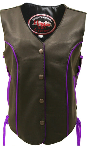 Ladies Made in USA Black Leather Motorcycle Vest with Purple Trim Side Laces