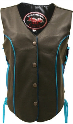 Ladies Made in USA Black Leather Motorcycle Vest with Turquoise Trim Side Laces