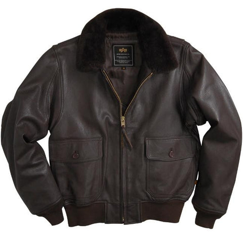 Alpha Industries G-1 Brown Goatskin Leather Flight Jacket