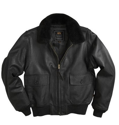 Alpha Industries G-1 Black Goatskin Leather Flight Jacket