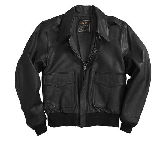 Alpha Industries A-2 USAF Leather Goatskin Flight Jacket- Black