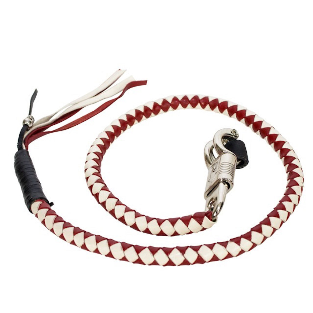 "36"" Red & White Get Back Whip For Motorcycles"