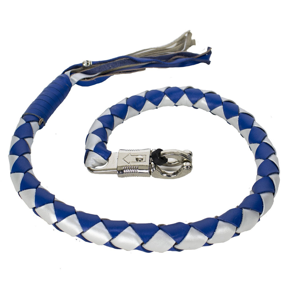 "3"" Thick Hand-Braided Leather Get Back Whip - Blue/Silver"