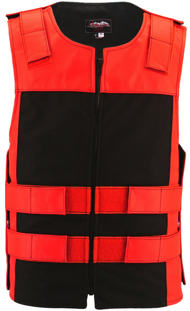 Made in USA Leather & Cordura Zippered Motorcycle Vest Red Black