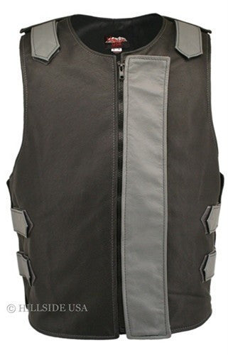 Made in USA Bulletproof Style Leather Motorcycle Vest Black/Gray