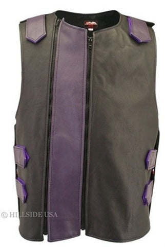 Made in USA Dual Front Zipper Bulletproof Style Leather Biker Vest Black/Purple