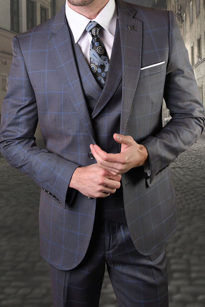 Mens 3 Piece Slim Fit Charcoal Windowpane Wool Blend Designer Business Suit