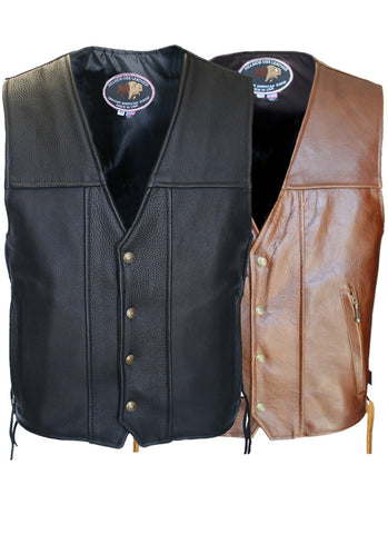 Men's Made in USA American Bison Buffalo Leather Motorcycle Vest