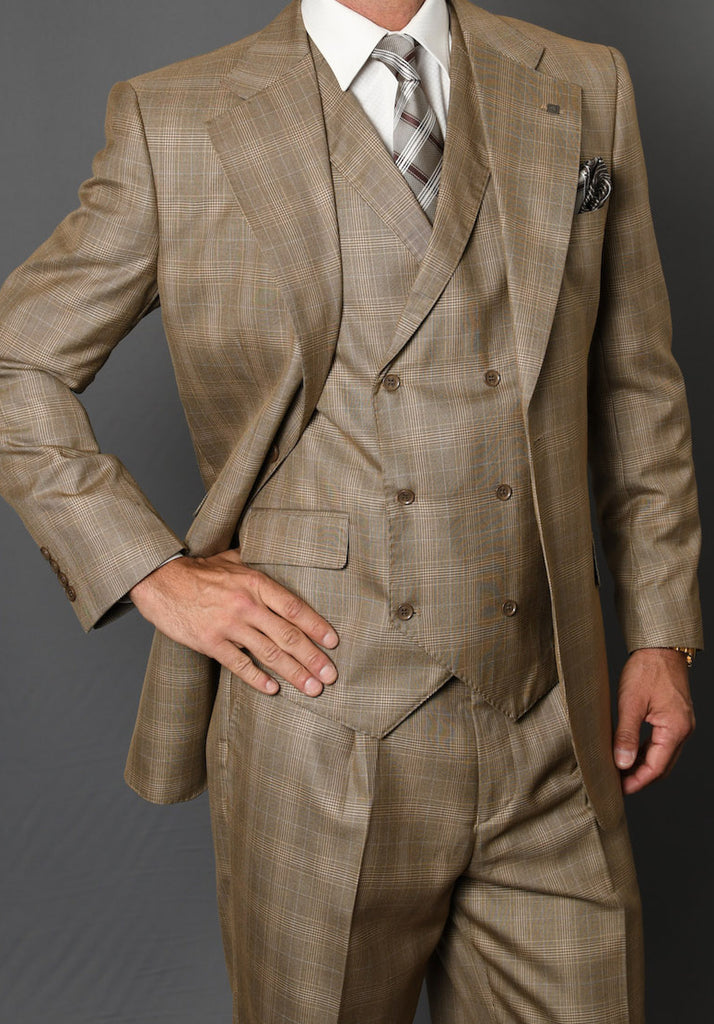 Mens 3 Piece Tan 150's Wool Designer Business Suit Double Breasted Vest