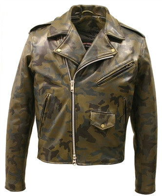 Men's Made in USA Classic Style Leather Camouflage Biker Jacket