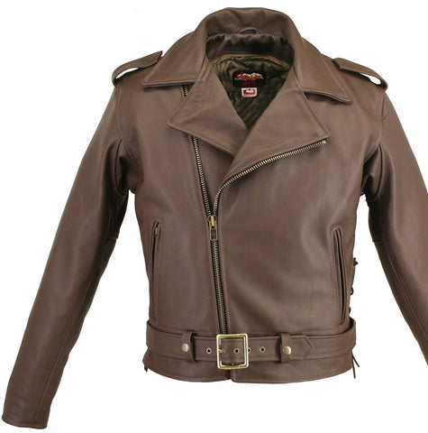 Men's Made in USA Classic Brown Naked Leather Belted Motorcycle Jacket