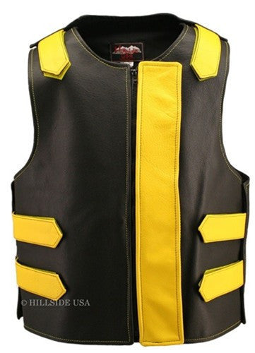Made in USA Bulletproof Style Leather Motorcycle Vest Black/Yellow