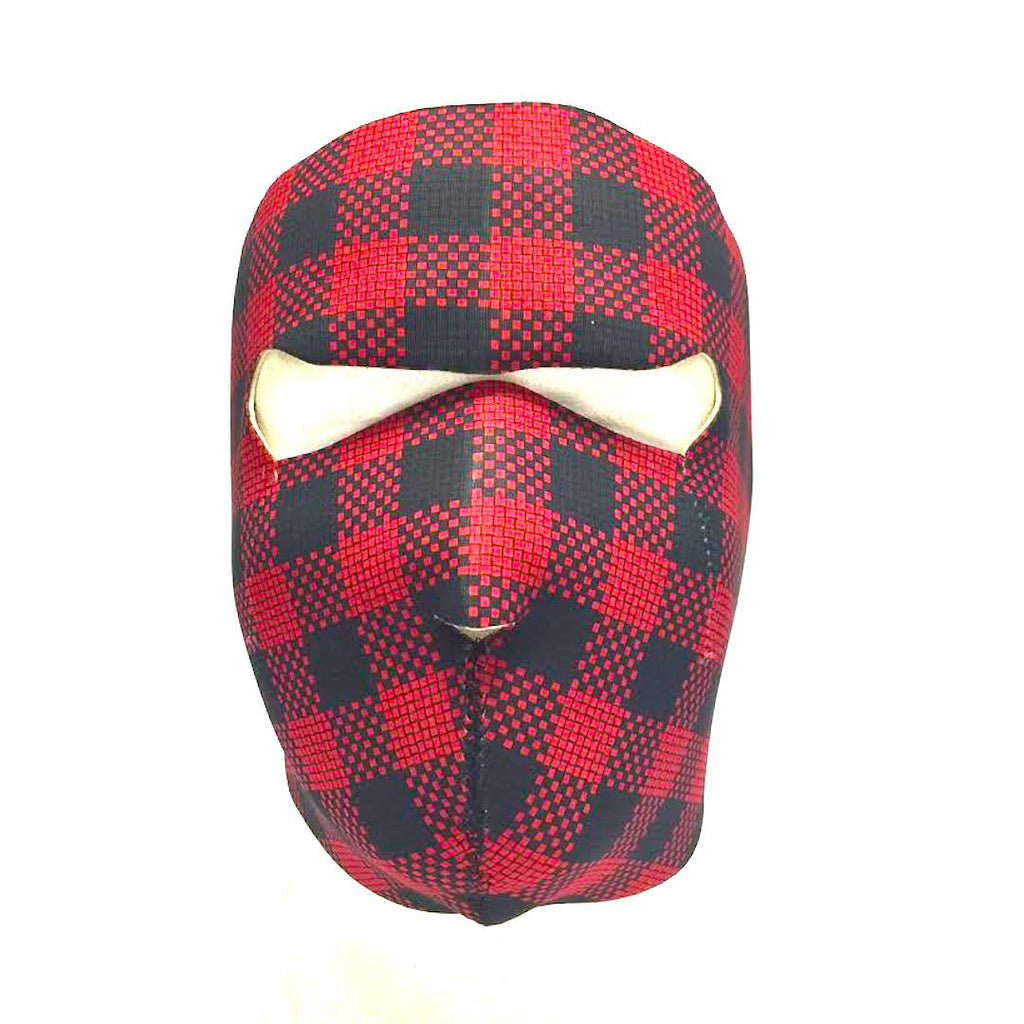 Red Plaid Neoprene Motorcycle Face Mask