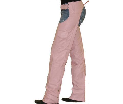 Womens Pink Leather Motorcycle Chaps Covered Zipper with Flap & Mesh Lining