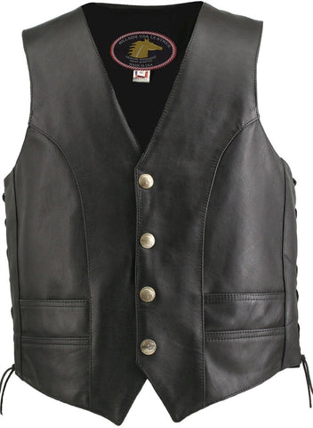 Men's Made in USA Horsehide Leather Motorcycle Vest Buffalo Nickel Snaps