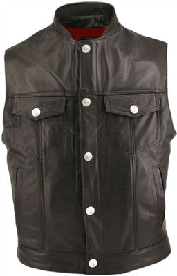 Hillside USA Mens Made in USA Leather Denim Style Stand Up Collar Motorcycle Vest Gun Pockets