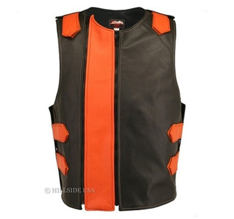 Made In USA Dual Front Zipper Bulletproof Style Leather Biker Vest Black/Orange
