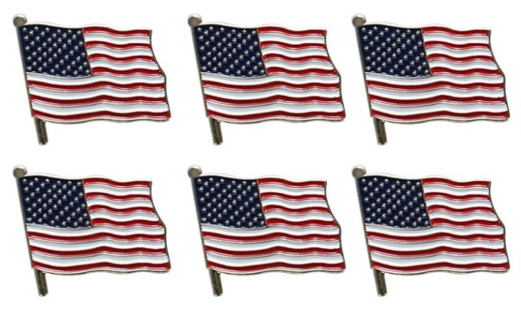 "2"" American Flag Lapel Pin Set Of 6"